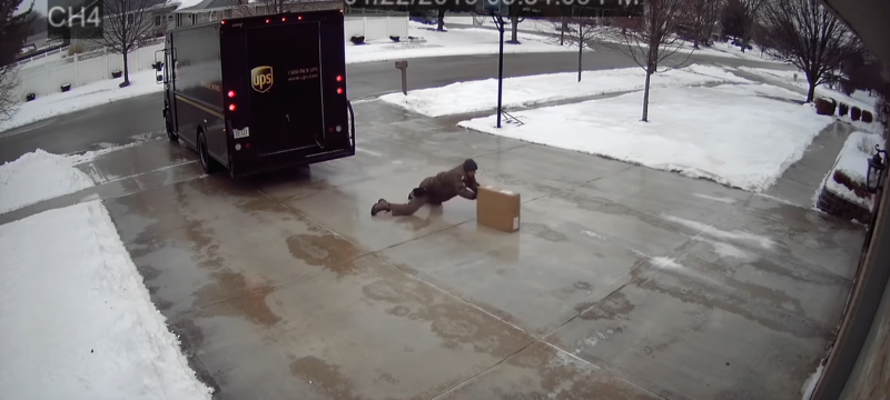 UPS Delivery Guy vs. Icy Driveway
